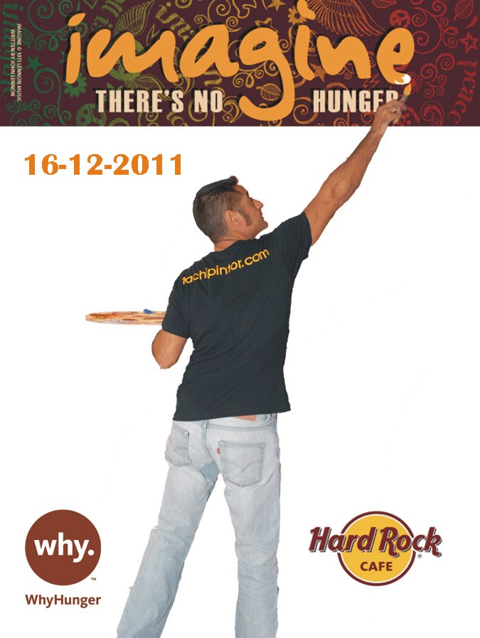 Tachi pinta un cuadro en el Hard Rock Cafe para Imagine / WhyHunger