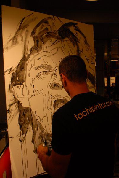 Tachi pintando a Mick Jagger